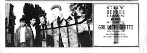 Girl In The Ghetto advert from music press broadsheet, 1987
