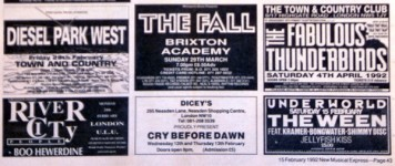 NME ad for the '92 gigs (& River City People!)