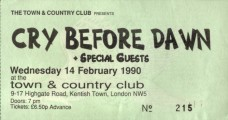 Ticket from Town & Country Club gig