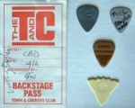 Signed Backstage Pass and plectrums from the Town & Country Club gig (left & below)
