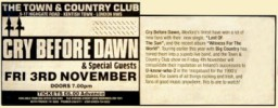 Music press ad for TCC gig and review