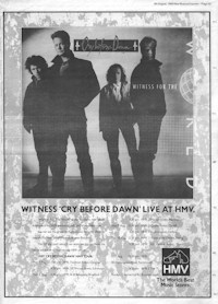 Full-page advert for Witness For The World album and tour, NME 5th August 1989